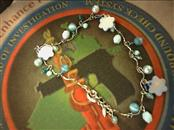 "10"" BRACELET: 4.97DWT, BLUE BEADED BRACELET - CATS EYE, SHELL FLOWER BEADS AND P"